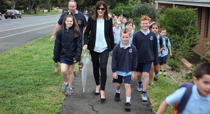 Kilmore Primary School Principal Kim Laffan and students